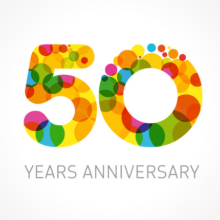 50 years old multicolored logotype. Anniversary 20th greetings, congratulations pattern template. Isolated shape numbers. Abstract colored digits of percent% off, fifth 5th place, graphic 0 emblem.