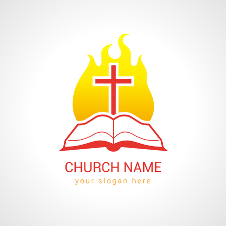 Church logotype. Religious study, reading, learning educational symbol, traditional isolated crucifixion template. Fiery flaming shining burning glowing red sign. Word of God. Foto de archivo - 101762059
