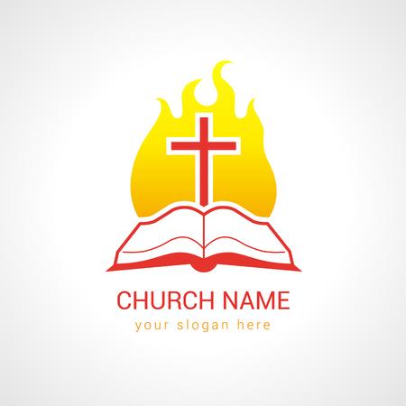 Logo van de kerk. Religieuze studie, lezen, leren onderwijssymbool, traditionele geïsoleerde kruisiging sjabloon. Vurig vlammend glanzend brandend gloeiend rood teken. Woord van God.
