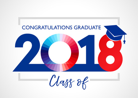 Graduating class of 2018 vector illustration. Congratulations Class of 2018 design graphics for decoration with red and blue colored for design cards, invitations or banner  イラスト・ベクター素材