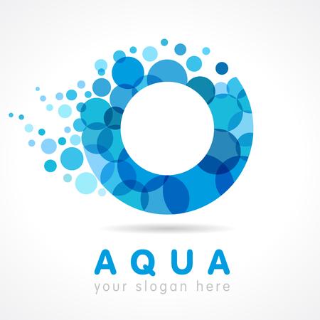 O naamgeving logo. Geïsoleerd abstract wasembleem. Gebrandschilderd glas karakter. Het drinken van pure kleurrijke druppels bubbels bos. Corporate branding identiteit.