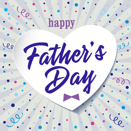 Happy father's day colored greetings. Happy Fathers Day calligraphy elements, isolated congrats standard square size. Dad is my king celebrating congratulating template. Light colorful background.