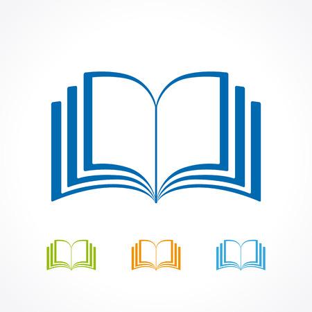 Modello di logotipo educativo. Apprendimento, insegnamento, lettura, formazione, pubblicazione, studio del modello colorato. E-book, e-reader, concetto di app. Emblema colorato di forma di pagina etichetta colorata isolato astratto. Logo