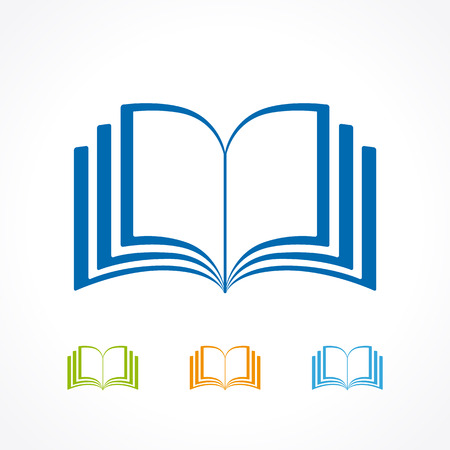 Educational logotype template. Learning, teaching, reading, training, publishing, studying colored template. E-book, e-reader, app concept. Abstract isolated colorful label page shape colored emblem.