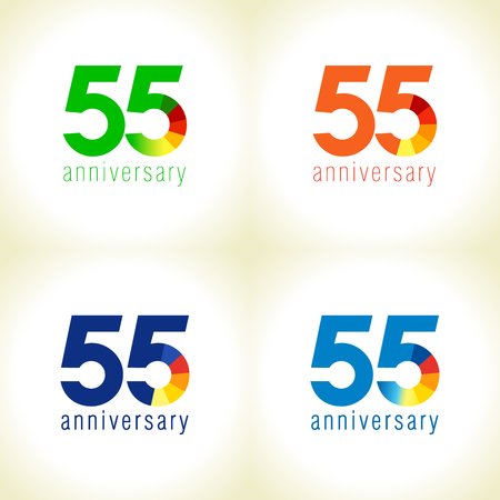 55 years old logotype. Abstract colored 55 th abstract template medal. Greetings celebrates. Celebrating colgratulating isolated numbers, symbol of age. Financial -55%, -5, -% percent off sign. Illustration