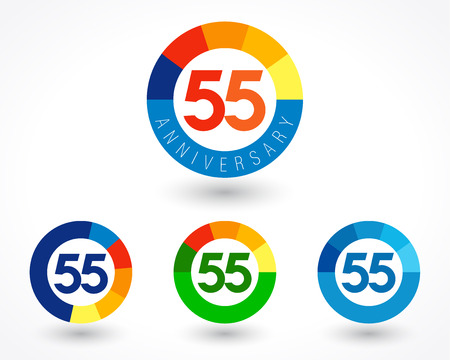 55 years old logotype. Abstract colored 55 th abstract template medal. Greetings celebrates. Celebrating colgratulating isolated numbers, symbol of age. Financial -55%, -5, -% percent off, web sign.