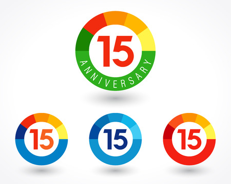 15 years old logotype. Abstract colored 15 th abstract template medal. Greetings celebrates. Celebrating colgratulating isolated numbers, symbol of age. Financial -15%, -5, -% percent off, web sign.