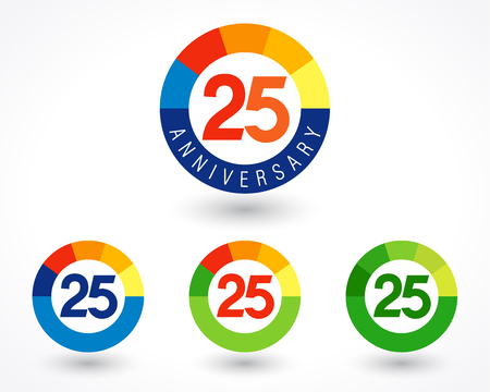 25 years old logotype. Abstract colored 25 th abstract template medal. Greetings celebrates. Celebrating colgratulating isolated numbers, symbol of age. Financial -25%, -5, -% percent off, web sign.