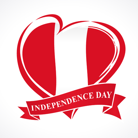 Peru Independence Day greeting card. 28 July, Peru Independence Day lettering banner background with heart in flag colors. Flag in the shape of heart in grungy style  イラスト・ベクター素材