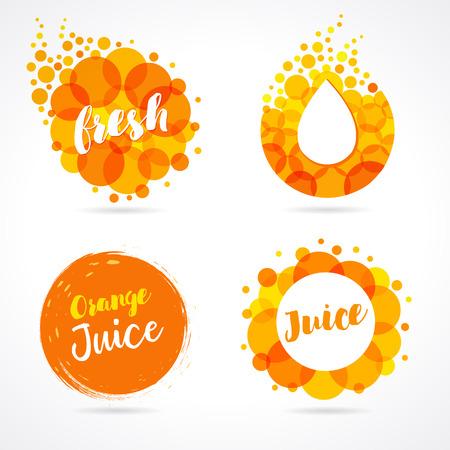 Orange juice label splash set design. Drops bubbly and lettering logo on white background. Mango, pineapple and papaya juice design, shape creative vector illustration