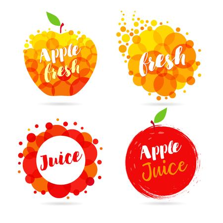 Apple juice label splash set design. Yellow and red drops bubbly logo on white background. Mango, pineapple and papaya juice design, creative vector illustration