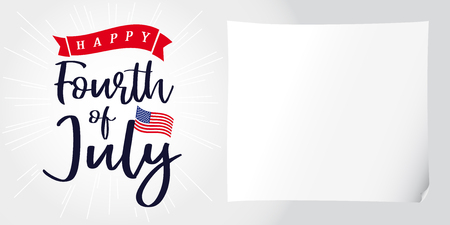 Happy 4th of July, Independence Day of USA, lettering and light beams poster. Happy Independence Day United States of America vector calligraphic design. Fourth of July sale illustration Illustration