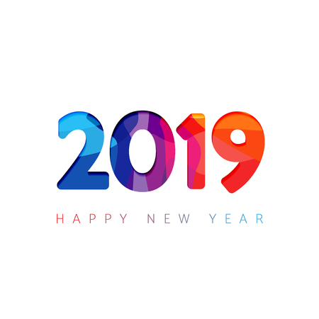 2019 greetings. White background, multicolored facet numbers. Seasonal digits, abstract isolated blue, violet, red colored symbols. Congratulating celebrating decorating graphic design template.