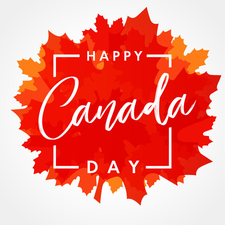 Happy Canada Day lettering on maple leaf banner. Canada Day, national holiday 1st of july with vector text on red maple leaf. Congratulating celebrating Canadian anniversary of independence of 1867 years