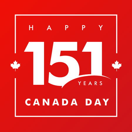 151 years anniversary, Happy Canada Day. Canada Day, national holiday with vector text and red maple leaf. Celebrating the Canadian anniversary of independence of 1867 years