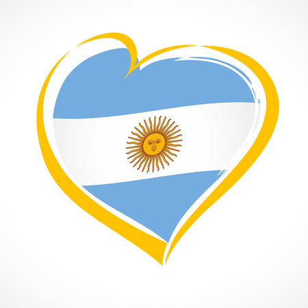 Love Argentina emblem, Independence day banner with heart in national flag color. National holiday in Argentina 9 of july vector greetings card. Celebrate Argentinian anniversary of independence 1816 Illustration