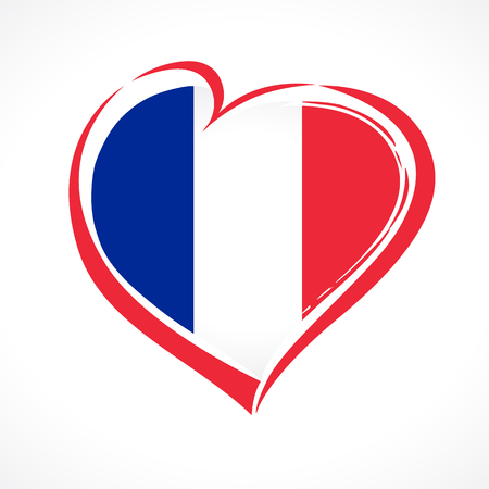 Love France emblem, Bastille day banner with heart in national flag color. National holiday in France 14 of july vector greetings card. Celebrate French Republic anniversary 1789 year