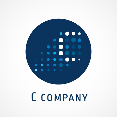 C lighting logotype. Isolated colored emblem. Abstract corporate connecting blockchain, cryptocurrency, template, creative concept IT branding identity, crypto it Logo
