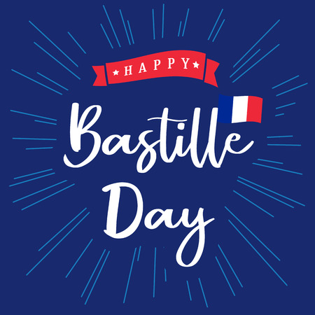 Happy Bastille Day banner blue with inscription and national flag on beams. National holiday in France 14 of july vector greetings card. Celebrate French Republic anniversary 1789 year
