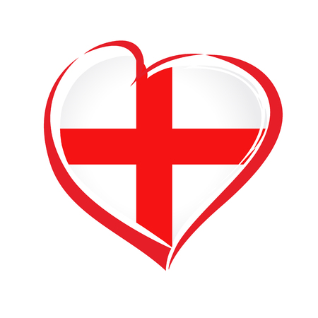 Love England emblem with heart in national flag color with St George's cross. National holiday in England 1 may vector greetings card. Celebrate Russian anniversary of independence