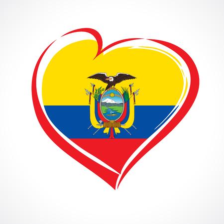 Amo el emblema de Ecuador con el corazón en el color de la bandera nacional. Fiesta nacional en Ecuador 13 de mayo tarjeta de saludos de vector. Celebración aniversario ecuatoriano Independencia de España 24 de mayo de 1822 Ilustración de vector