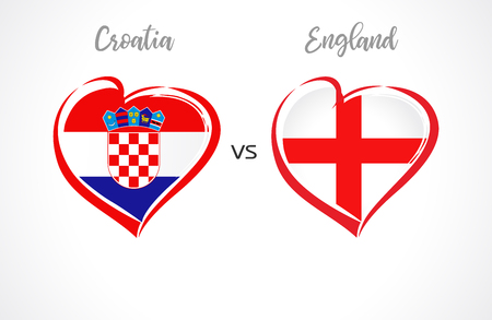 Croatia vs England flags, national team soccer on white background. Croatian and English national flag in a heart, button vector. Football world championship semi-final of the competition 2018