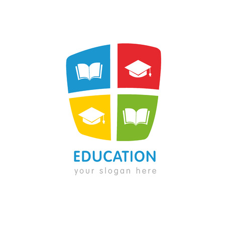 Online education logo template, open book and square academic cap. University or school learning logo template design. Vector illustration Logo