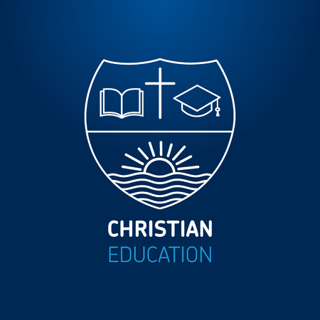 Logo for church or christianity education, open book, cross, square academic cap and sun on river. Christian university or sunday school learning line art sign template design on blue background. Vector illustration