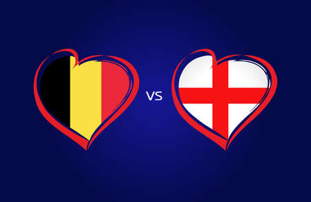 Belgium vs England flags, national team soccer on navy blue background. Belgian and English national flag in a heart, button vector. Football championship final of the competition 2018