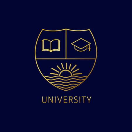 University education logo with open book, square academic cap and sun on river. University or college is a golden line art emblem template design. Vector illustration Vectores