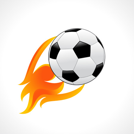 Football emblem in flame isolated on white background. Football club or competition template with soccer ball in fire. Vector illustration