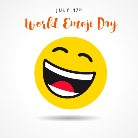 World Emoji Day with big smiling emoticon, july 17th. Happy yellow smiley in a flat design and lettering World Emoji Day on white background. Vector emoticon joy icon