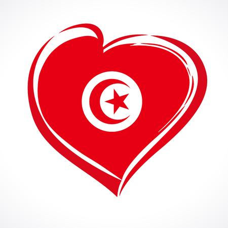 Amo el emblema de Túnez con el corazón en el color de la bandera nacional. Día de la República declarado en Túnez el 25 de julio de 1957, tarjeta de felicitación de vector. Celebración del aniversario de Túnez Independencia de Francia 20 de marzo de 1956 Ilustración de vector