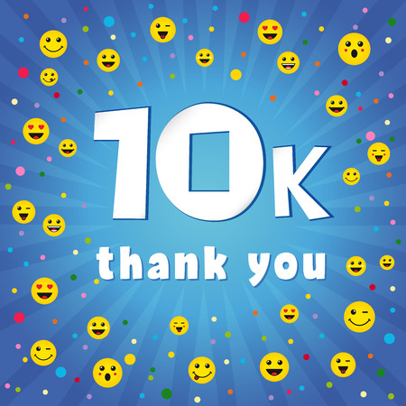 Thank you 10000k followers. Congratulating online thanks, image for net friends, customers 10 000 likes. Isolated sign, graphic elements. Blue color background, white paper text. 10% percent off trendy idea. Vektoros illusztráció