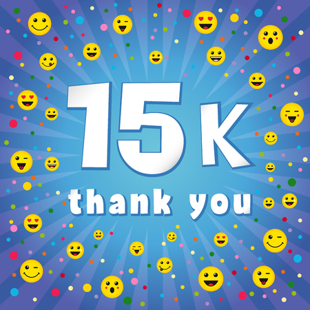 Thank you 15000k followers. Congratulating colorful online thanks, image for net friends, customers 15 000k likes. Isolated sign, graphic elements. Blue color background, white paper text. 15% percent off trendy idea.