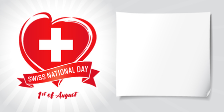 Swiss National Day, poster with heart in flag color on beams and white paper. National holiday in Switzerland 1 August, vector greetings card. Celebration Swiss Confederation anniversary of Foundation date