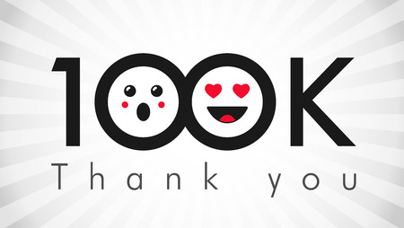 Thank you 100 000 followers. Congratulating black and white colors networking thanks, net friends abstract image, customers 100 000k sign,% percent off discount. Isolated smiling people