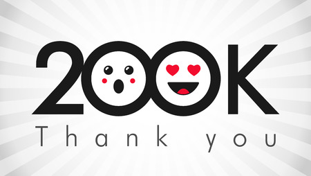 Thank you 200 000 followers. Congratulating black and white colors networking thanks, net friends abstract image, customers 200 000k sign,% percent off discount. Isolated smiling people