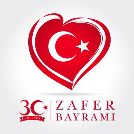 Zafer Bayrami 30 Agustos con bandiera cuore, Victory Day Turkey. Traduzione: 30 agosto celebrazione del Giorno della Vittoria in Turchia. Repubblica di celebrazione, grafica per elementi di design, illustrazione vettoriale