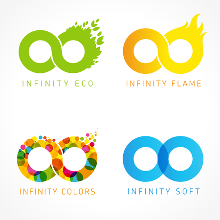 Infinity eco, flame, colors & soft logo ideas. Flat vector design infinity signs for web graphic or future concept