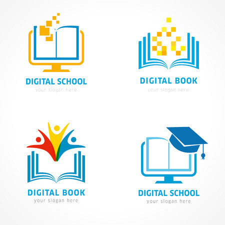 Set of online education logo template. Online learning, pixel open book, communication people, digital education logo element designs. Vector illustration