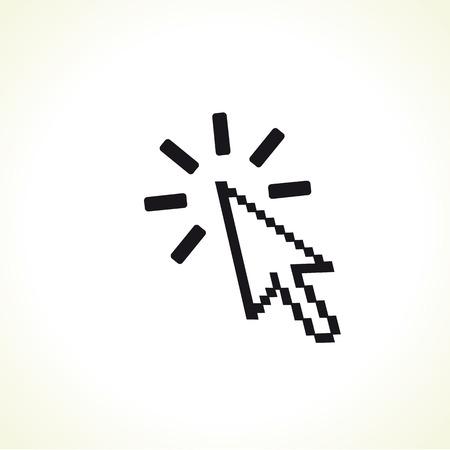 Arrow cursor click icon. Clicking symbol with pixel arrow sign. Vector illustration