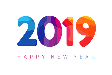 2019, Happy New Year xmas greetings. Holidays colored background, colorful stained shape isolated digits. Vector isolated numbers template Illustration