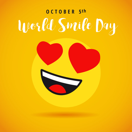 World Smile Day october 5th banner with love emoticon. Love smiley and lettering World Day on yellow background. Vector illustration