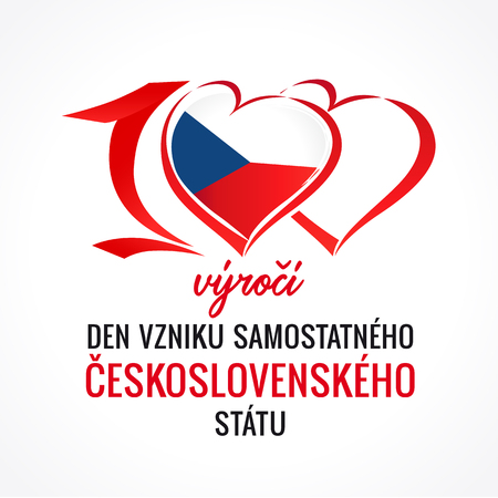 100 v?ro?? vzniku samostatn?ho ?eskoslovensk?ho st?tu, 100th years anniversary of Czech republic. Flag of Czechia with heart shape for Independence Day 28 October 1918 Ilustração