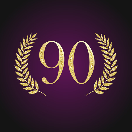 90 th years old emblem. Isolated elegant abstract nominee graphic seal of 90%. Congratulating celebrate design-off line Illustration
