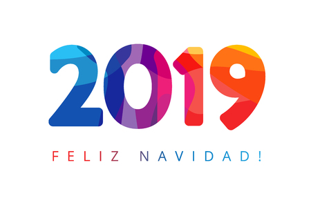 2019, Feliz Navidad xmas Spanish greetings, translate: Merry Christmas. Holidays colored background, colorful stained shape isolated digits. Vector isolated numbers template