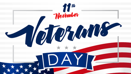 November 11, Veterans day USA flag card. Honoring all who served lettering vector background Illusztráció