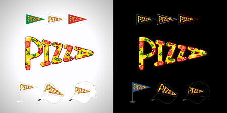 Pizza emblem. Black & white background, type inscription. Isolated abstract letters bright colored emblem. Vetores