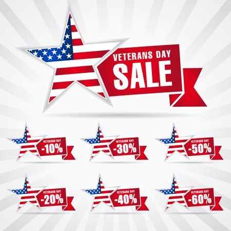 Veterans day USA, sale banner. Special offer stars shepe for November 11, Honoring all who served  background. 10%, 20%, 30%, 40%, 50%, 60% off discount symbols